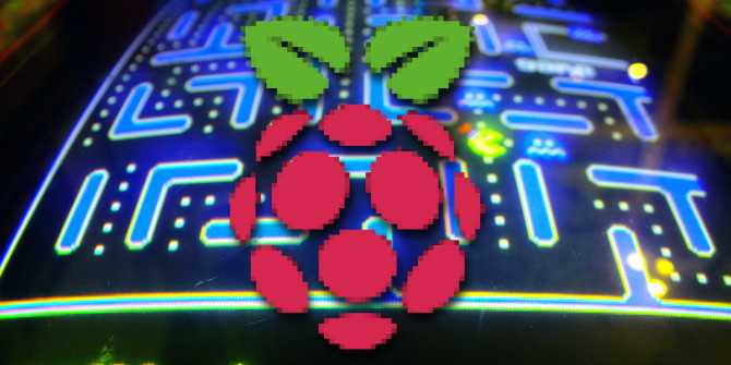 The Raspberry pi logo in front of pacman